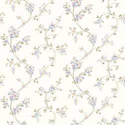Laurel White Floral Trail Wallpaper HTM49529