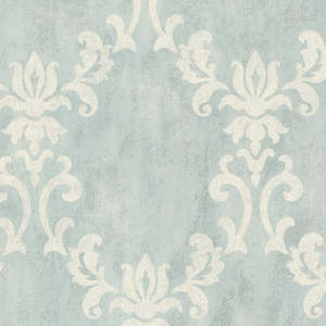 Renna Light Blue Large Scroll Damask 672-20073