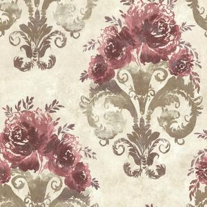 Allana Burgundy Scrolling Floral Urn 484-68064