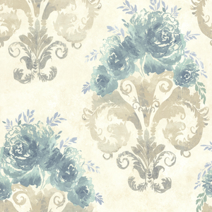 Allana Aqua Scrolling Floral Urn 484-68095