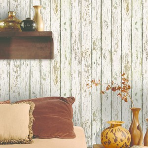 Grendel White Faux Weathered Wood Wallpaper HTM13282