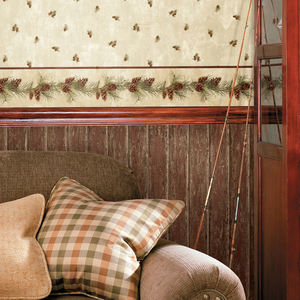 Jensen Cream Pinecone Toss Wallpaper HTM49463