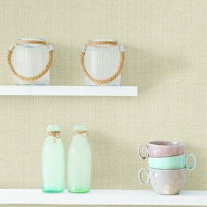 Bennet Wheat Faux Linen Fabric Wallpaper HTM495011