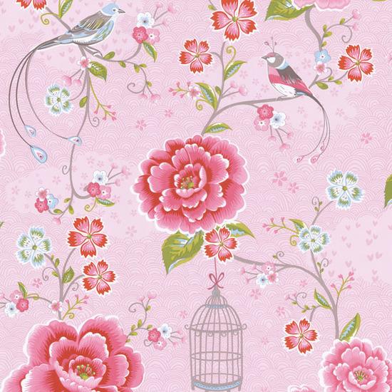Pink Floral Birds Trail 313010