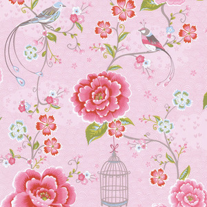 Pink Floral Birds Trail 313010
