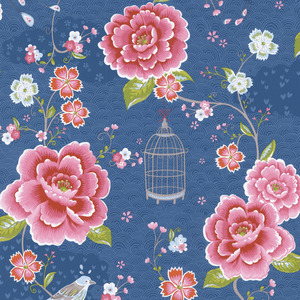 Blue Floral Birds Trail 313015