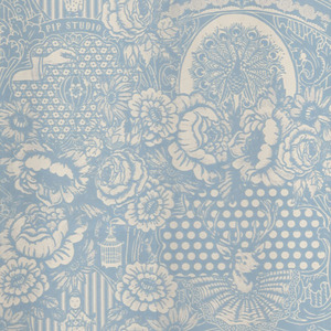 Light Blue Flock Floral Toile 313060