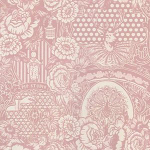 Light Pink Flock Floral Toile 313062
