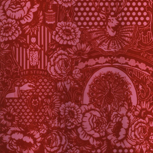 Red Flock Floral Toile 313064