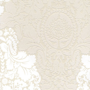 Beige Flock Damask 313071
