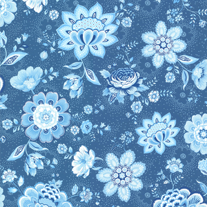 Kali Dark Blue Folklore Chintz 341013