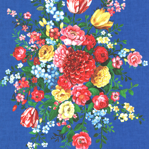 Ayaanle Dark Blue Dutch Painters Floral 341044