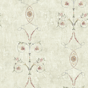 Murecine Light Grey Floral Scroll Stripe OM91001
