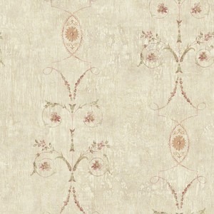 Murecine Beige Floral Scroll Stripe OM91005