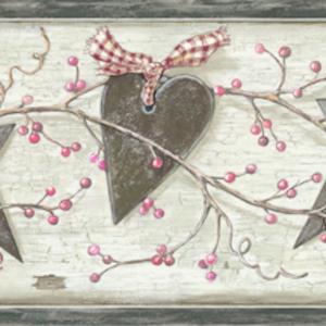 Dorothy Grey Star Heart Sprig Border PUR44531B