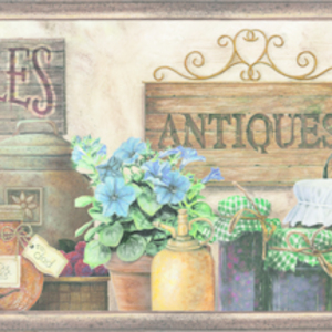 Brittany Black Herbs Antiques Portrait Border PUR44581B