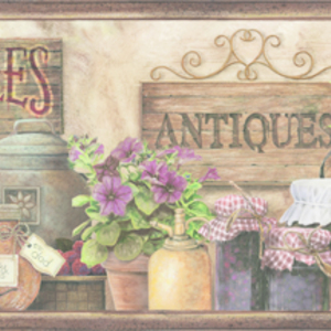 Brittany Brown Herbs Antiques Portrait Border PUR44582B