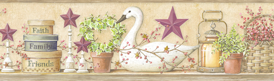 Rue Wheat Swan Star Collage Border PUR44632B