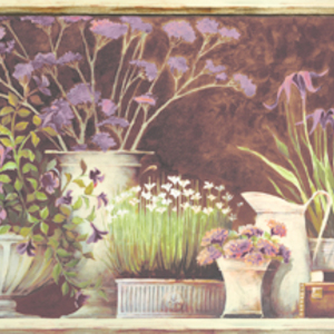 Frema Brown Floral Still Life Border PUR44642B