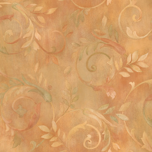 Orange Contemporary Acanthus Wallpaper QE19412