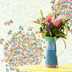 Bouquets Sky Floral Polka Dot 341586