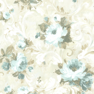 Jasmine Blue Floral Scroll Wallpaper 2605-21606