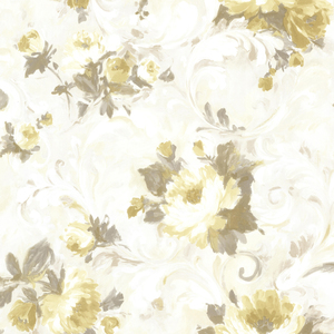 Jasmine Yellow Floral Scroll Wallpaper 2605-21607