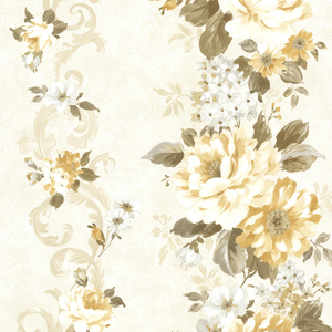 Alexandra Yellow Scroll Wallpaper 2605-21617