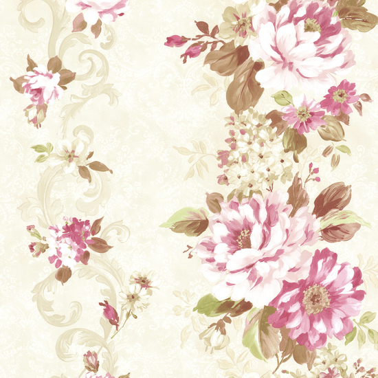 Alexandra Pink Scroll Wallpaper 2605-21618