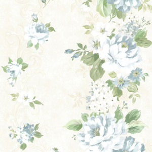 Alexandra Blue Scroll Wallpaper 2605-21621