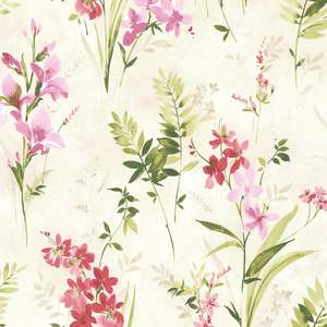 Henrietta Pink Watercolor Floral Wallpaper 2605-21627