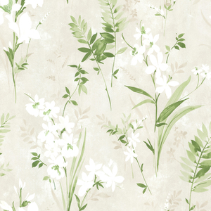 Henrietta Green Watercolor Floral Wallpaper 2605-21628