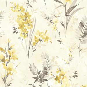 Henrietta Yellow Watercolor Floral Wallpaper 2605-21629