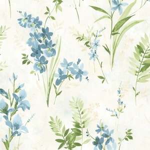 Henrietta Blue Watercolor Floral Wallpaper 2605-21630