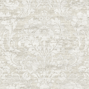 Loren Light Grey Fabric Damask RW40600
