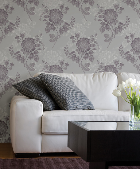 Astrud Purple Turquise Floral Wallpaper 601-58400