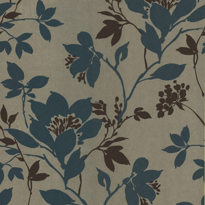 Carina Aqua Silhouette Floral Wallpaper 601-58434