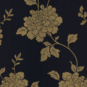 Keika Navy Japanese Floral Wallpaper 601-58468
