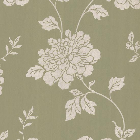 Keika Olive Japanese Floral Wallpaper 601-58470