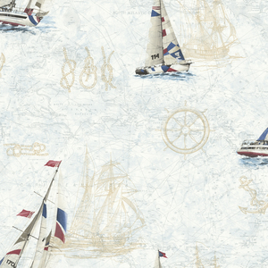 Flagler Navy Water'S Edge Map Wallpaper DLR47501
