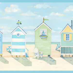 Brighton Aqua Beach Cottage Border DLR53522B
