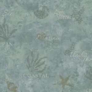 Marina Teal Scenic Seaside Wallpaper DLR54571