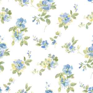 Captiva Blue Watercolor Floral Wallpaper DLR54591