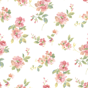 Captiva Peach Watercolor Floral Wallpaper DLR54592