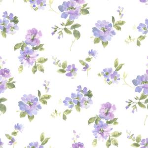 Captiva Purple Watercolor Floral Wallpaper DLR54593