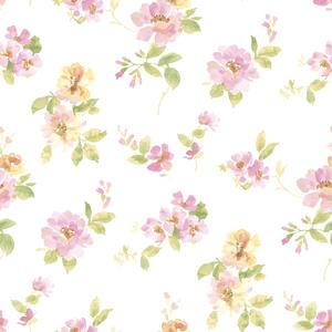 Captiva Pink Watercolor Floral Wallpaper DLR54594