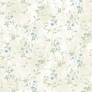 Capri Blue Floral Trail Wallpaper DLR54633