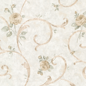 Lotus Blue Floral Scroll Wallpaper 2530-20516