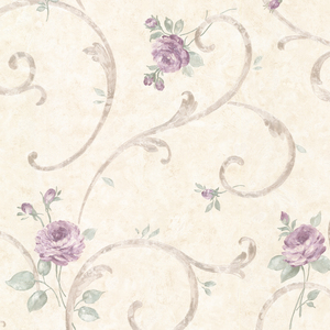 Lotus Lavender Floral Scroll Wallpaper 2530-20517