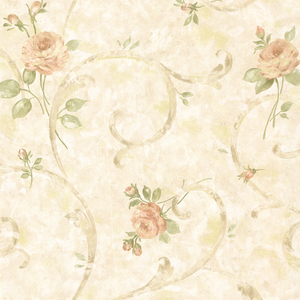 Lotus Peach Floral Scroll Wallpaper 2530-60119